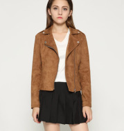 Wish 2020 autumn and winter new lapel, slanted zipper, female suede jacket