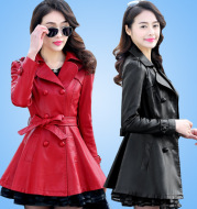 2020 autumn and winter new thickening plus velvet warm leather women's pu leather jacket