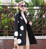 Autumn and winter new ladies suit collar long-sleeved fashion windbreaker big-name long long wave point coat