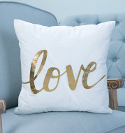Super soft pineapple love letter bronzing hot silver pillowcase cotton and linen car sofa cushion