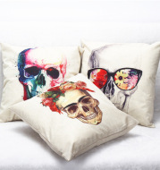 EBay foreign trade hot cool colorful linen sofa pillow pillowcase on skull Home Furnishing wholesale custom
