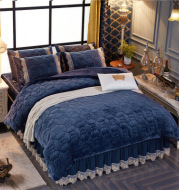 Winter warm padded bed skirt velvet four pieces