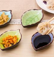 Creative leaf ceramic small dish kitchen tableware sauce vinegar sauce dish household ice split glaze snack saucer