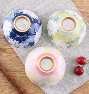 Japan imported kitchen tableware bowl ceramic flower bowl with Japanese style and simple restaurant tableware wholesale Department