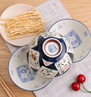 Japan imported ceramic bowl with Japanese style and color of kitchen utensils auspicioussimple creative wholesale bowl