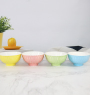 Japanese ceramic bowl and bowl soup kitchen tableware Japan wind meter creative underglaze candy color straight mouth bowl