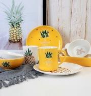Wanxing ins red pineapple beioufeng household ceramic bowl disc tray tableware milk mug ears
