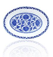Jingdezhen ceramic disc fish dish exquisite blue and white porcelain plates lotus genuine glaze wholesale kitchen utensils