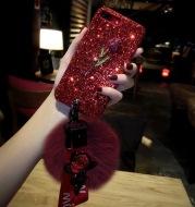 Glitter hair ball8plus mobile phone shell luxury female iPhone6s hard red tide brand 7p Europe air Lanyard