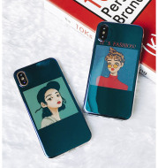 Lovely mirror blue light girl soft shell8 cell phone shell iPhoneX/7/6s/plus creative protection cover