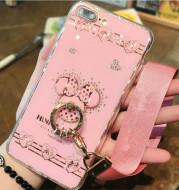 Pink diamond pattern ring shell phone case