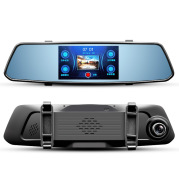 New driving recorder 5 inch touch screen after the view mirror HD 1080P double record voice prompt
