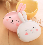 Cartoon silica gel zero purse Korean lovable rabbit zero purse candy color packet key bag lady bag