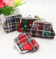 European and American Christmas small gifts Mini Purse cloth art lattice coin bag student small purse wholesale
