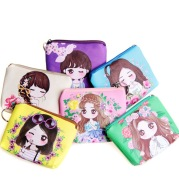 Pu zero purse with key ring cartoon dolls