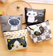 Korean stationery creative cute cartoon small meow PU material zero wallet receiving key bag