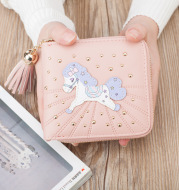 Wholesale Korean cartoon short simple childhood dream pony Wallet Zipper Wallet Card multi tassel girls