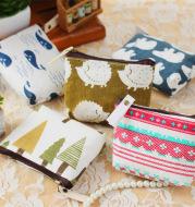 Cotton smallretro Korean Wallet Coin Bag simple fashion canvas cartoon key bag bag