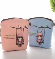 South Korean lovely boutique autumn girl canvas zero purse smallclean girl coin bag manufacturer direct sale