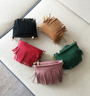 Children autumn new handbag Mini Handbag fashion tassel shoulder diagonal cross package PU change leisure bag