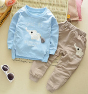 Baby autumn long sleeve suit children's casual sweater cotton two-piece