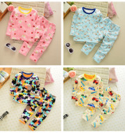 Children's new children's winter warm underwear suit for boys and girls with cashmere pajamas and golden cashmere clothes