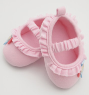 Sweet, pink and pink wave shoes baby baby shoes can be customized pure cotton cloth shoes spring, summer and autumn suitable factory direct selling