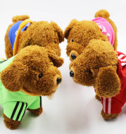 Children emulate electric wire rope puppies walking and singing can call the Teddy dog intelligent remote control plush toy