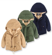 LM-6035 Europe and American wind cap boy's coat and cashmere boy's windcoat for 2021 autumn and winter children's clothes