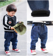 Children's jeans in winter 2017 new styles, cashmere and thickened boys and girls, cowboy casual long trousers and Korean version