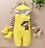 Children cotton baby clothes in the spring and autumn winter warm thick baby Jumpsuit newborn climb clothes clothes Kazakhstan