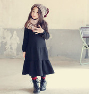 Wear skirts a girl with thick velvet dress on behalf of parent-child stitching paragraph lotus leaf skirt mother dress
