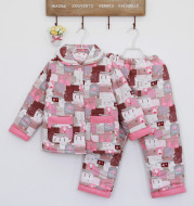 In winter, the boys and girls clip cotton pajamas cotton flannel cloth printing thick warm clothing wholesale Home Furnishing