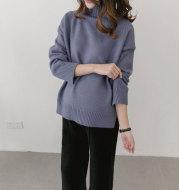 2021 Korean winter new maternity pregnant women sweater size loose turtleneck sweaters backing