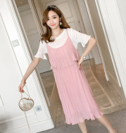 2021 new nursing maternity chiffon long section cover belly SLING DRESS two piece slim skirt