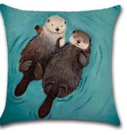 Cross-border special for the new hand-drawn hand-painted cross-border hot seller of the romantic otter household pillow cover car cushion cover
