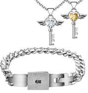 Concentric Lock Bracelet Necklace Set