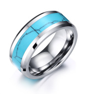Turquoise tungsten steel ring