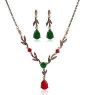 Leaf water drop resin gemstone pendant necklace