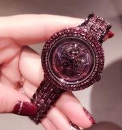 Full Diamond Ladies Quartz Watch Rotary Dial