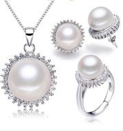 Pearl stud earrings / pendant / ring three-piece