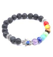Volcanic rocks, palmar Yoga energy string hand chain natural stone blue eyes palm seven chakra hand chain