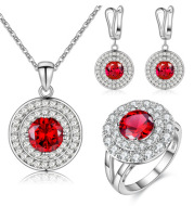 Jewelry Fashion Set Color Earrings Ring Necklace Three-Piece Necklace Set