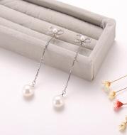 Sterling Silver Needle Bow Earrings Long Pendant Pearl Hypoallergenic Earrings Copper Jewelry Two Ways