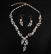 Earrings necklace bridal jewelry three-piece alloy plating European and American bride set jewelry set