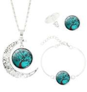 Tree of Life Time Gemstone Stud Earrings