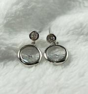 S925 hollow semi-circular zircon earrings fashion wild trend women's sterling silver jewelry