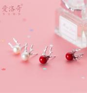 S925 silver moose ear nail female Korean version of natural freshwater pearl antler ear nail Christmas ear jewelry woman E0880