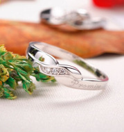 Commitment couple ring white copper plated platinum couple ring engagement engagement ring men and women jewelry