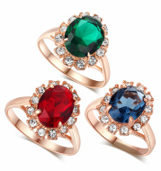 Engagement Ring Vintage emerald magazine star with the same section 18K simulation jewelry